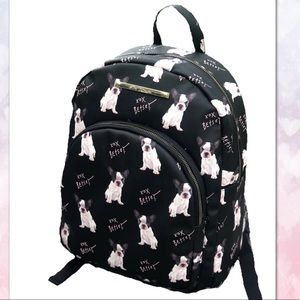 NWT Betsy Johnson Black Leather Doggy Backpack